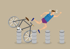 Cycling Accident Cartoon Vector Illustration Stock Images