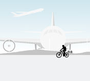 Cycling airport scene. Young woman cycling in the Airport scene vector silhouette people landscape background Royalty Free Stock Photography