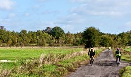Cycling along agricultural track royalty free stock photo