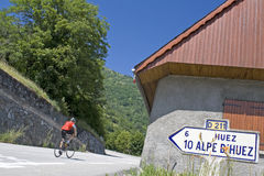 Cycling at Alpe D Huez. France Royalty Free Stock Images