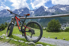 Cycling in the alps royalty free stock photo