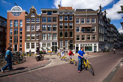 Cycling in Amsterdam Stock Photography