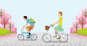 Cycling Anonymity men and women -Cherry trees - EPS10 Royalty Free Stock Image