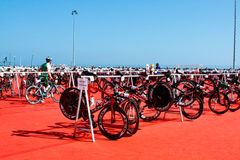 Cycling area. TRIATHLON. transition zone Royalty Free Stock Photo