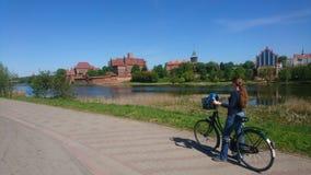 Cycling around Malbork castle Stock Photos