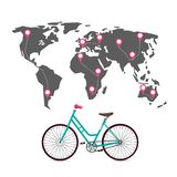 Cycling Around the World with Routes, Pins and World Map. Vector vector illustration