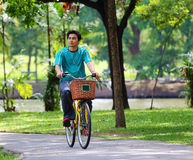 Cycling. Asian man cycling in a park Stock Image