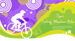 Cycling Athlete Mountain Bike Sport Competition Colorful Banner. Flat Vector Illustration royalty free illustration