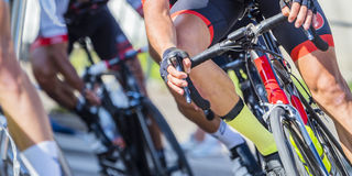 Cycling athletes in a race Royalty Free Stock Photo