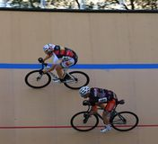 Cycling on a banked oval track Royalty Free Stock Photos