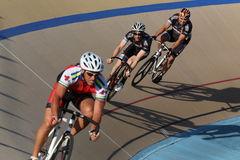 Cycling on a banked oval track Stock Photography