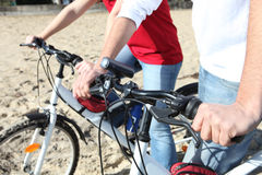 Cycling on a beach Stock Photography