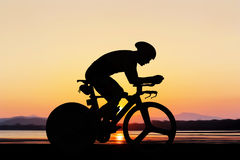 Cycling at the beach twilight time Royalty Free Stock Image