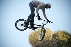 Cycling bicycle extreme high  jump Royalty Free Stock Image