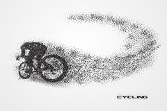 Cycling bicycle of a silhouette from particle. Background and text on a separate layer. color can be changed in one click Royalty Free Stock Images