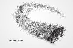 Cycling bicycle of a silhouette from particle. Background and text on a separate layer. color can be changed in one click Royalty Free Stock Photography