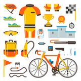 Cycling on bike vector bicycle accessories of biker or cyclist in sports wear clothes with helmet illustration set of. Biking race elements isolated on white stock illustration
