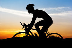 Cycling at black mountain on twilight Stock Image