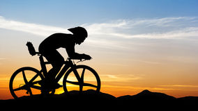 Cycling at black mountain on twilight Royalty Free Stock Photos