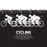 Cycling. Black And White Vector Illustration Stock Images