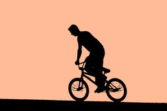 Cycling on BMX bike stock photo