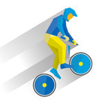 Cycling BMX. Cartoon cyclist jump on bike, with shadows behind. Stock Images