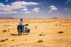 Cycling through bolivian emptiness Stock Photo