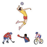 Cycling, boxing, ice hockey, volleyball.Olympic sport set collection icons in cartoon style vector symbol stock Royalty Free Stock Photography
