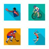 Cycling, boxing, ice hockey, volleyball.Olympic sport set collection icons in flat style vector symbol stock Stock Image