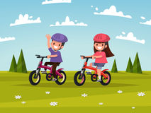 Cycling. Boy and girl go for a drive on bicycles on meadow. Vect Stock Photos