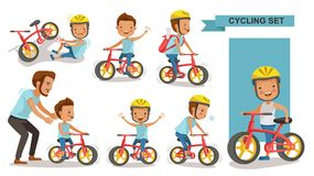 Cycling boy. Set. Father teaching son. child riding urban bicycle in helmet. Bike First and Injured leg injury. male road cyclist. Playing the playground vector illustration