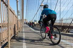Cycling on the Brooklyn Bridge stock images