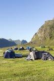 Cycling and camping at Lofoten Island, Norway Stock Photos
