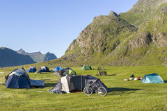 Cycling and camping at Lofoten Island, Norway Royalty Free Stock Image
