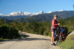 Cycling on Carretera Austral Royalty Free Stock Images