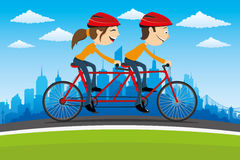 Cycling on city background. Royalty Free Stock Photo