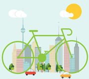 Cycling in the city. Ecology concept,  illustration Stock Image