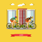 Cycling in the city, flat design. Vector illustration of two cyclists riding on bikes in the city. Sports equipment, helmet, gloves, glasses, sneakers and Stock Photos