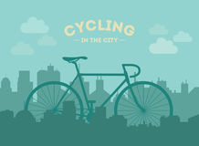 Cycling in the city. Flat style illustration. Stock Photo