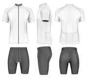 Cycling clothes for men. Short sleeve cycling jersey and shorts. Vector illustration stock illustration