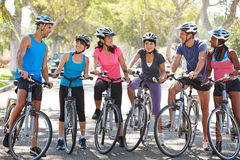 Cycling Club Meeting On Suburban Street. Smiling To Each Otgher Royalty Free Stock Photo
