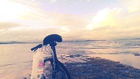 Cycling at the coast Stock Photography