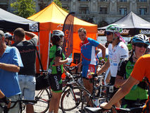 Cycling competition in Bucharest. Royalty Free Stock Image