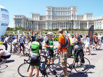 Cycling competition in Bucharest. Stock Photo