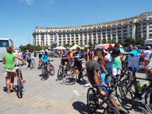 Cycling competition in Bucharest. Royalty Free Stock Photos