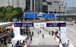 Cycling Competition in Hong Kong royalty free stock photography