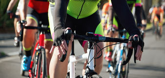Cycling competition race. In the light of evening Royalty Free Stock Photos