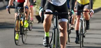 Cycling competition race. In the light of evening Royalty Free Stock Photography