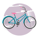Cycling concept. Bicycle. Vector bright illustration of Bike. Trendy style for graphic design, logo, Web site, social media, user. Bicycle for girl. Vector Stock Image