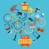 Cycling concept pictograms composition circle Royalty Free Stock Photo